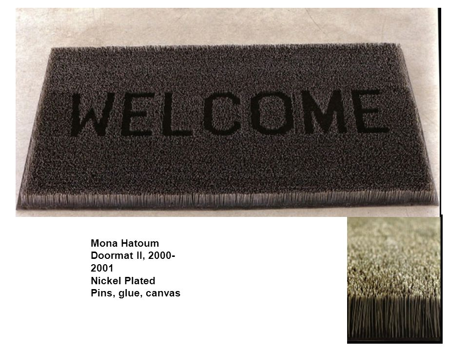 Mona Hatoum Doormat II, Nickel Plated Pins, glue, canvas