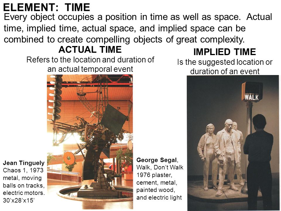 ELEMENT: TIME ACTUAL TIME Refers to the location and duration of an actual temporal event IMPLIED TIME Is the suggested location or duration of an event Jean Tinguely Chaos 1, 1973 metal, moving balls on tracks, electric motors.