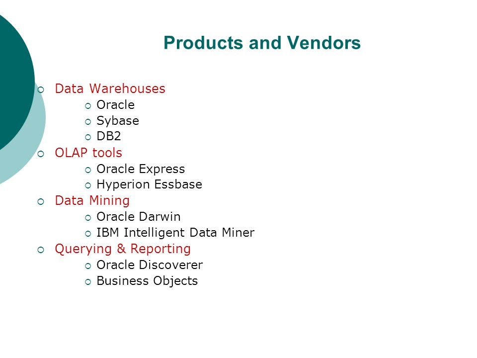 Products and Vendors  Data Warehouses  Oracle  Sybase  DB2  OLAP tools  Oracle Express  Hyperion Essbase  Data Mining  Oracle Darwin  IBM In