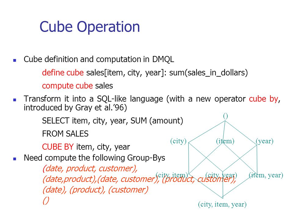Cube Operation Cube definition and computation in DMQL define cube sales[item, city, year]: sum(sales_in_dollars) compute cube sales Transform it into