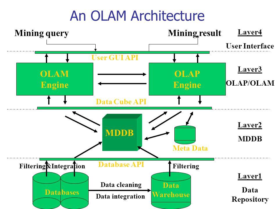An OLAM Architecture Data Warehouse Meta Data MDDB OLAM Engine OLAP Engine User GUI API Data Cube API Database API Data cleaning Data integration Laye