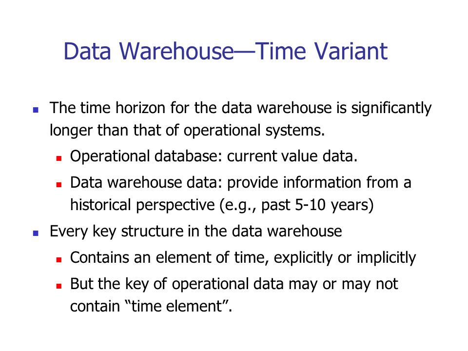 Data Warehouse Usage Three kinds of data warehouse applications Information processing supports querying, basic statistical analysis, and reporting using crosstabs, tables, charts and graphs Analytical processing multidimensional analysis of data warehouse data supports basic OLAP operations, slice-dice, drilling, pivoting Data mining knowledge discovery from hidden patterns supports associations, constructing analytical models, performing classification and prediction, and presenting the mining results using visualization tools.