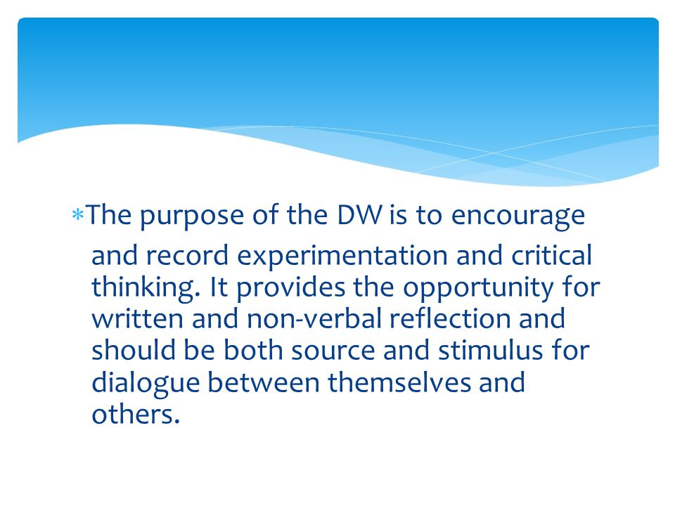  The purpose of the DW is to encourage and record experimentation and critical thinking.