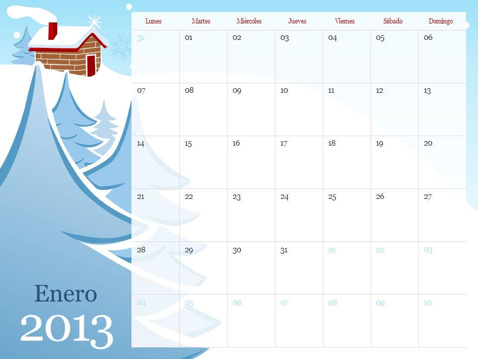 3101020304 06 05 0708091011 13 12 1415161718 20 19 2122232425 27 26 2829303101 03 02 0405060708 10 09 Enero 2013 LunesMartesMiércolesJuevesViernesSábadoDomingo Nota: Puede imprimir esta plantilla para usarla como calendario de pared.