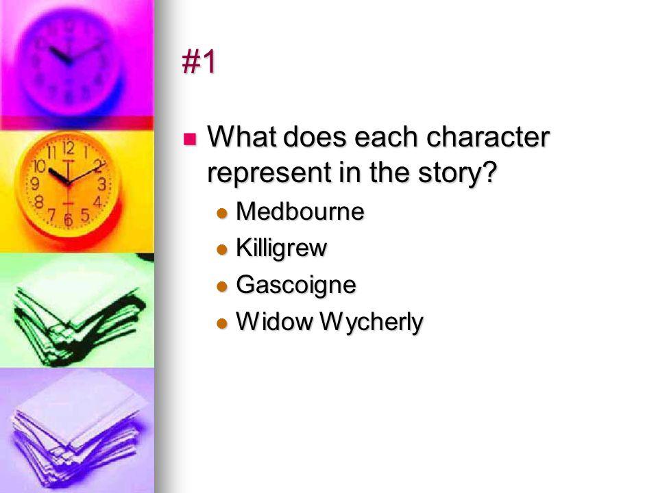 #1 What does each character represent in the story? What does each character represent in the story? Medbourne Medbourne Killigrew Killigrew Gascoigne