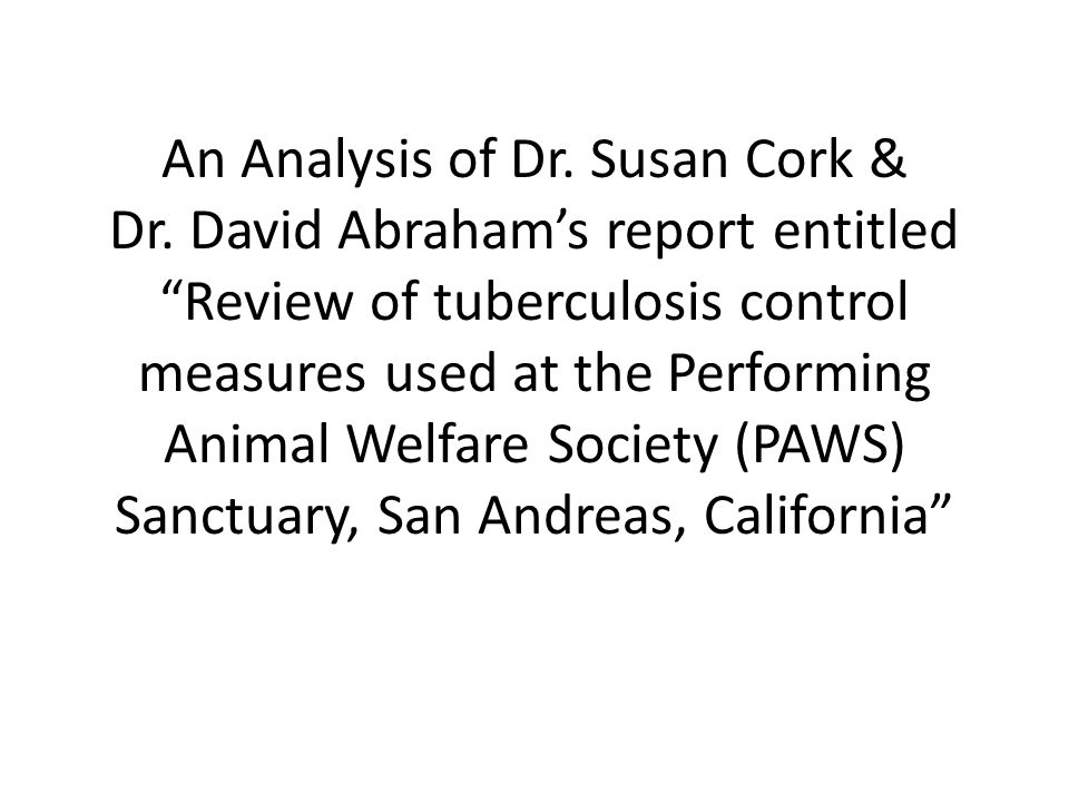 An Analysis of Dr. Susan Cork & Dr.