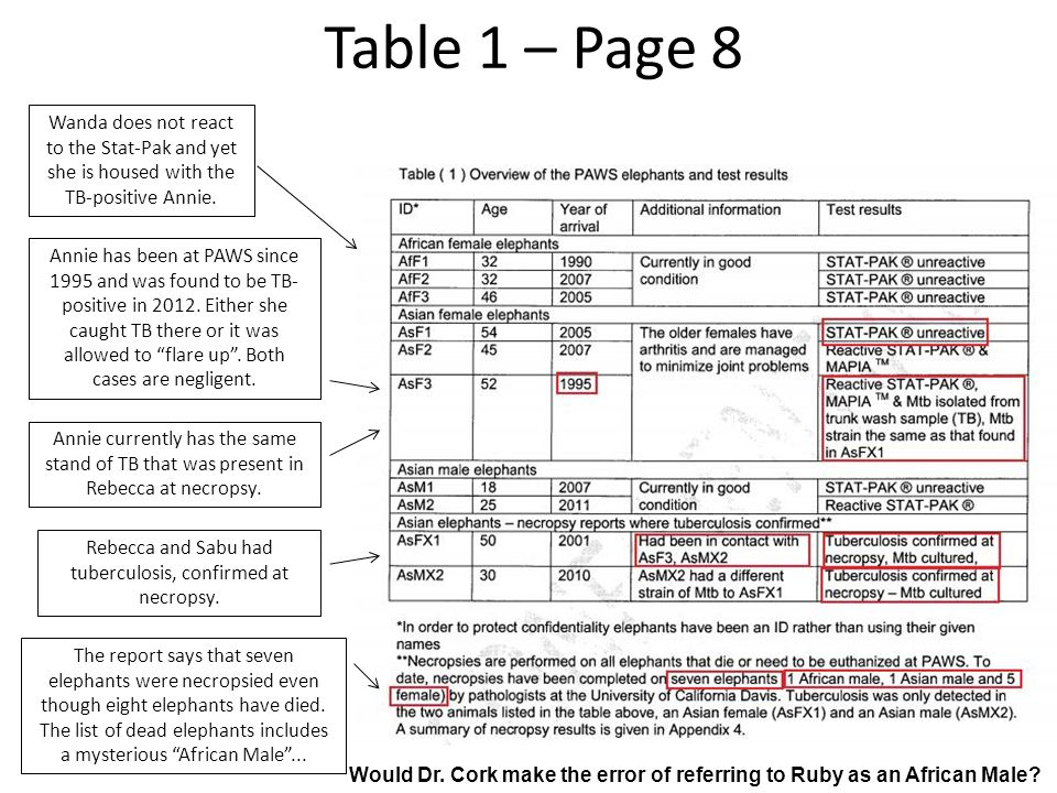 Table 1 – Page 8 Wanda does not react to the Stat-Pak and yet she is housed with the TB-positive Annie. Annie has been at PAWS since 1995 and was foun