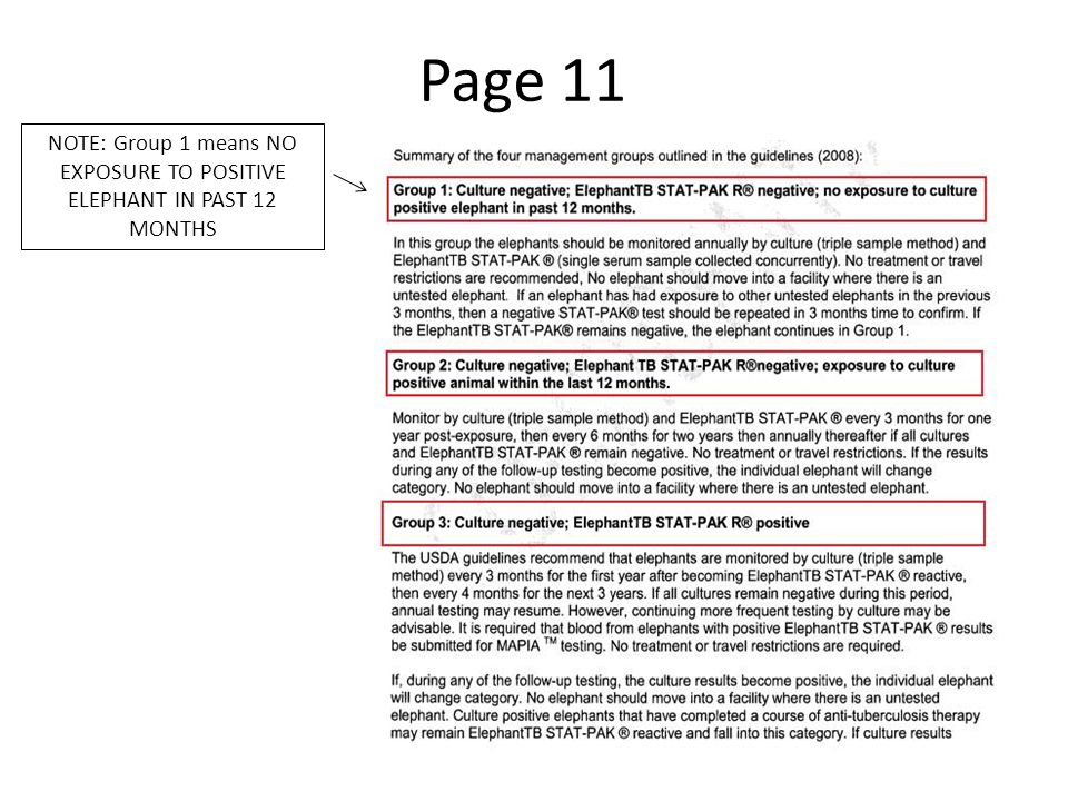 Page 11 NOTE: Group 1 means NO EXPOSURE TO POSITIVE ELEPHANT IN PAST 12 MONTHS