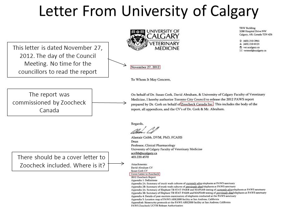 Letter From University of Calgary This letter is dated November 27, 2012.