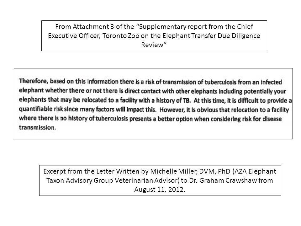 From Attachment 3 of the Supplementary report from the Chief Executive Officer, Toronto Zoo on the Elephant Transfer Due Diligence Review Excerpt from the Letter Written by Michelle Miller, DVM, PhD (AZA Elephant Taxon Advisory Group Veterinarian Advisor) to Dr.