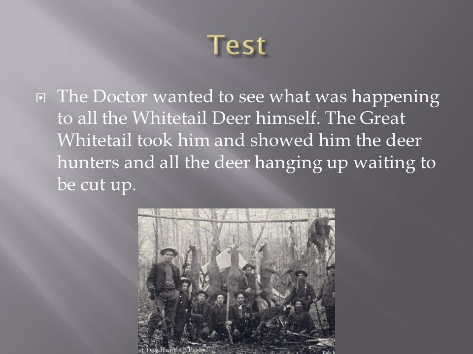  The Doctor wanted to see what was happening to all the Whitetail Deer himself.