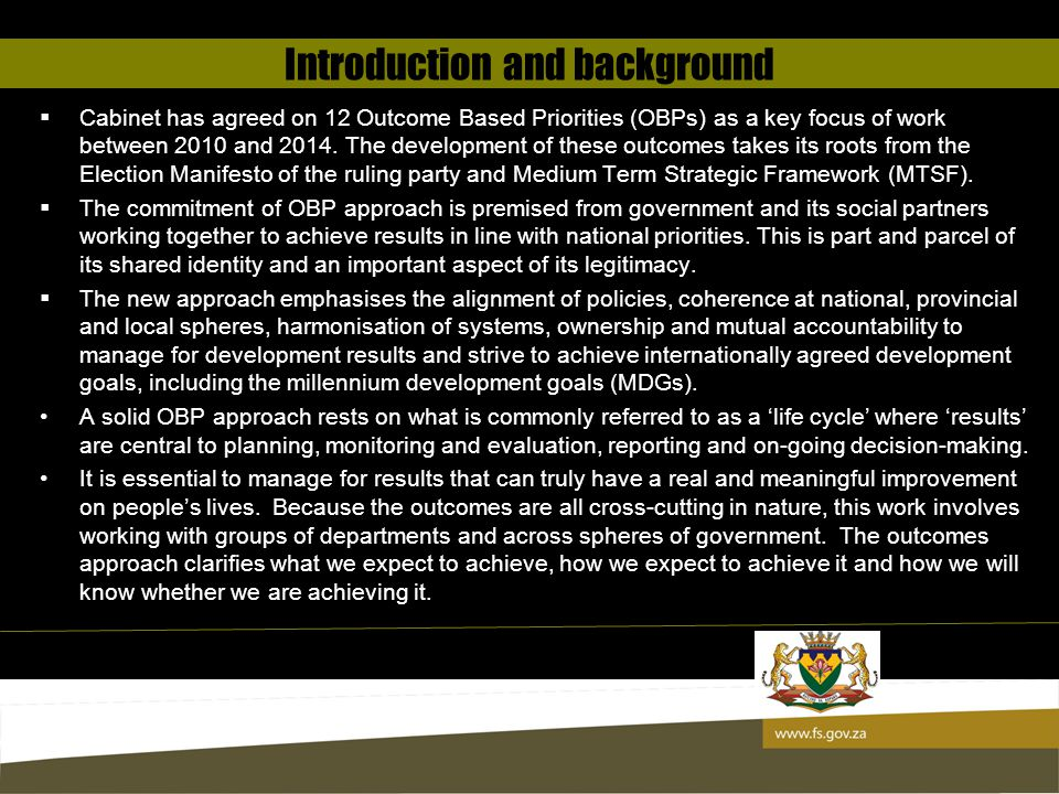 13 OBP 1: Improving quality of basic education According to Department of Basic Education Report on the 2012 National Senior Certificate: Technical Report, Free State Province has significantly improved its National Senior Certificate Pass Rate from 75.7% in 2011 to 81.1% in 2012.