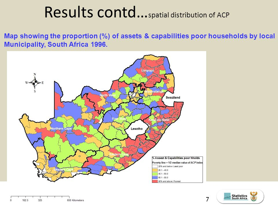 THE SOUTH AFRICA I KNOW, THE HOME I UNDERSTAND STATS SA Census Education level of the labour force, 2011 17 Results contd… spatial distribution of ACP Map showing the proportion (%) of assets & capabilities poor households by local Municipality, South Africa 1996.