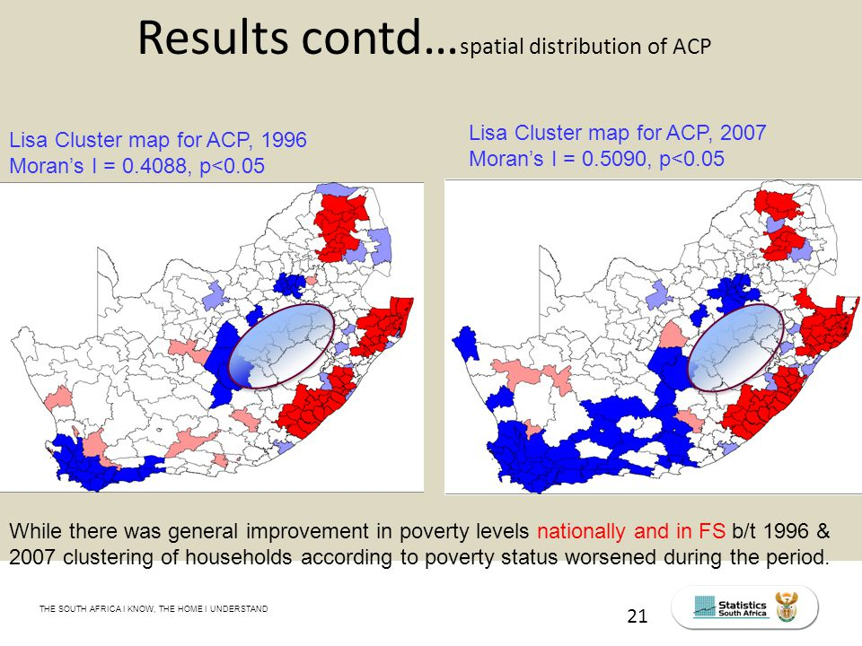 THE SOUTH AFRICA I KNOW, THE HOME I UNDERSTAND STATS SA Census Education level of the labour force, 2011 21 Results contd… spatial distribution of ACP While there was general improvement in poverty levels nationally and in FS b/t 1996 & 2007 clustering of households according to poverty status worsened during the period.