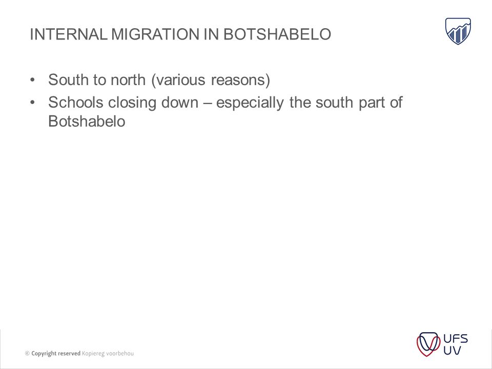 INTERNAL MIGRATION IN BOTSHABELO South to north (various reasons) Schools closing down – especially the south part of Botshabelo