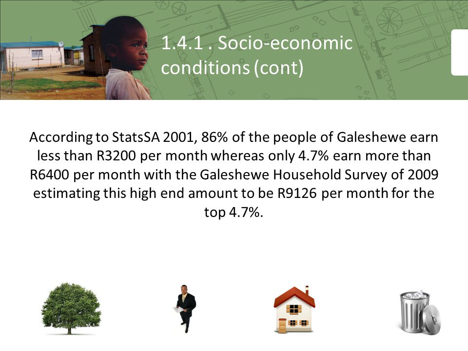 1.4.1. Socio-economic conditions (cont) According to StatsSA 2001, 86% of the people of Galeshewe earn less than R3200 per month whereas only 4.7% ear