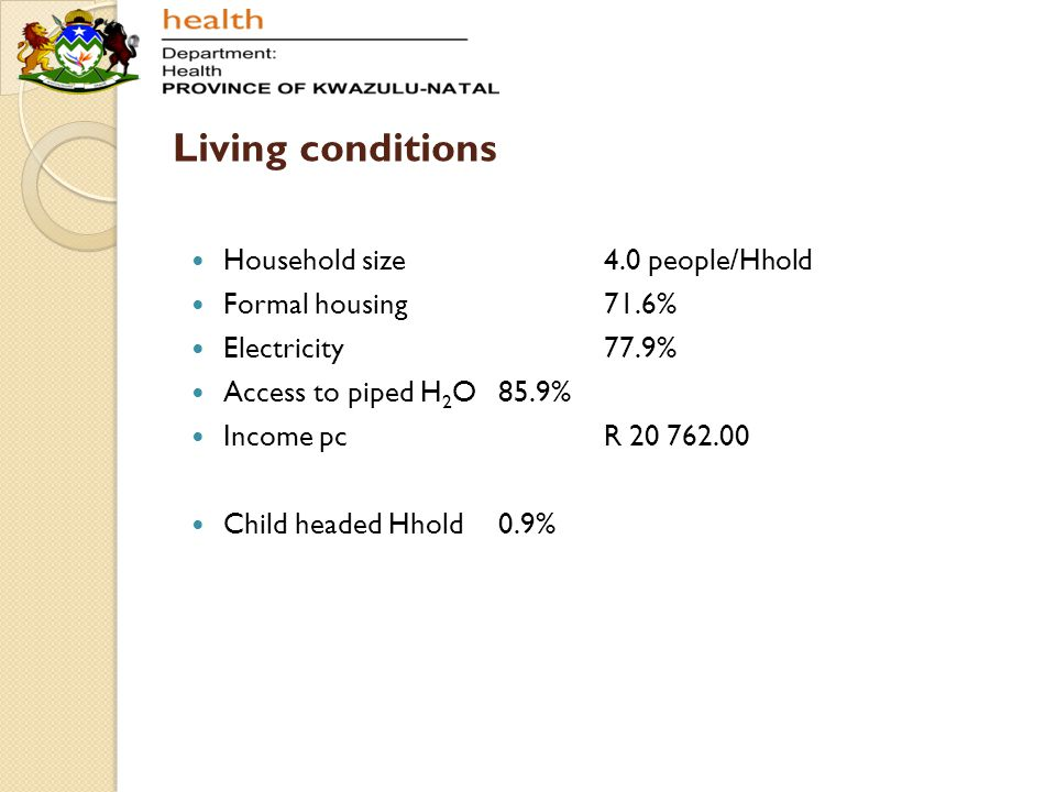 Living conditions Household size4.0 people/Hhold Formal housing71.6% Electricity77.9% Access to piped H 2 O85.9% Income pcR 20 762.00 Child headed Hho