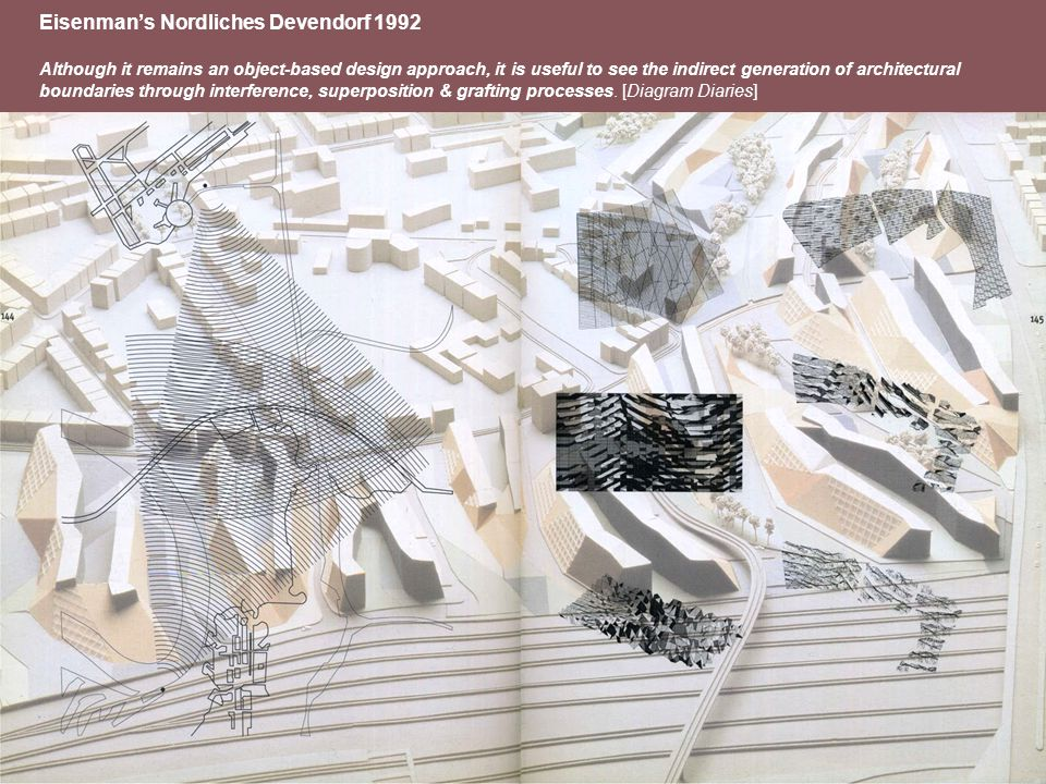 Eisenman's Nordliches Devendorf 1992 Although it remains an object-based design approach, it is useful to see the indirect generation of architectural boundaries through interference, superposition & grafting processes.