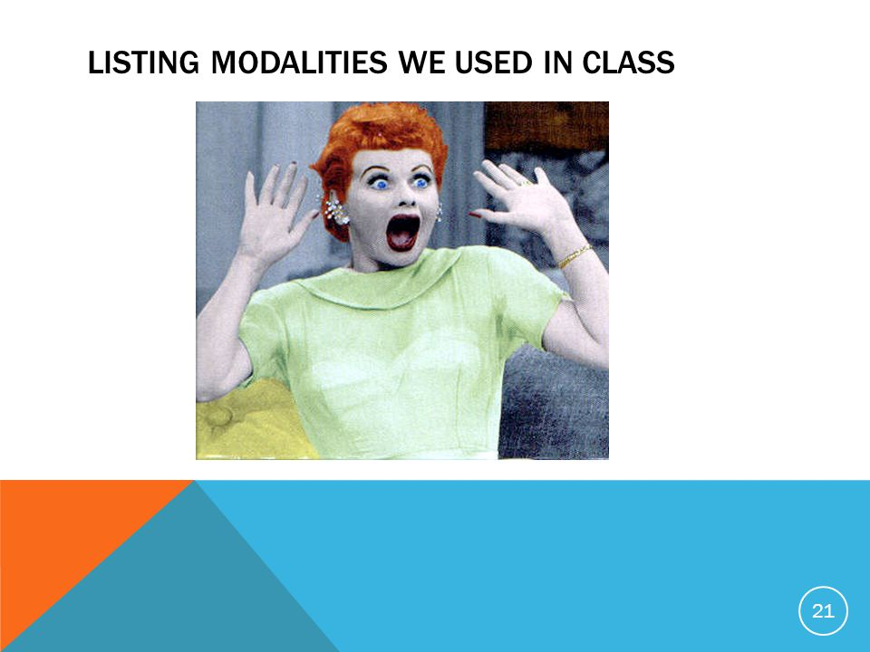 LISTING MODALITIES WE USED IN CLASS 21