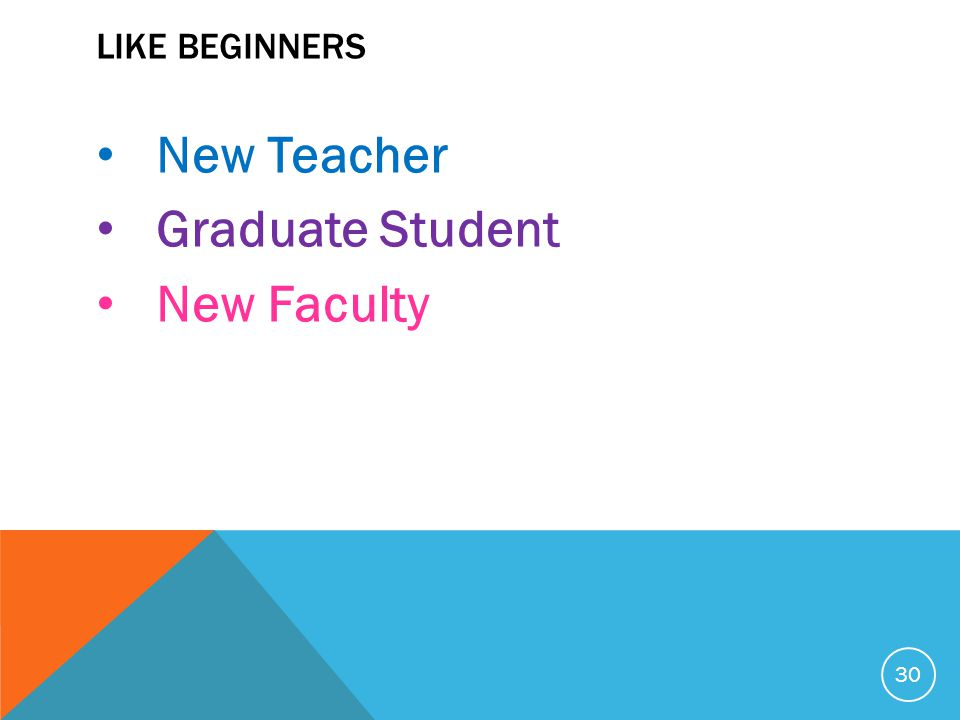 LIKE BEGINNERS New Teacher Graduate Student New Faculty 30