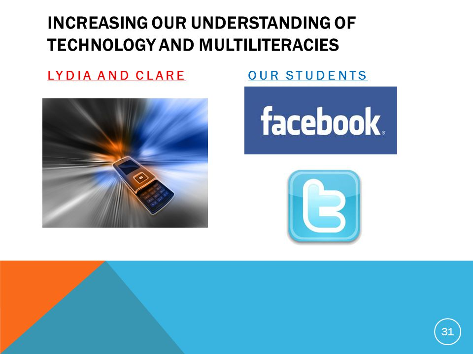INCREASING OUR UNDERSTANDING OF TECHNOLOGY AND MULTILITERACIES LYDIA AND CLAREOUR STUDENTS 31