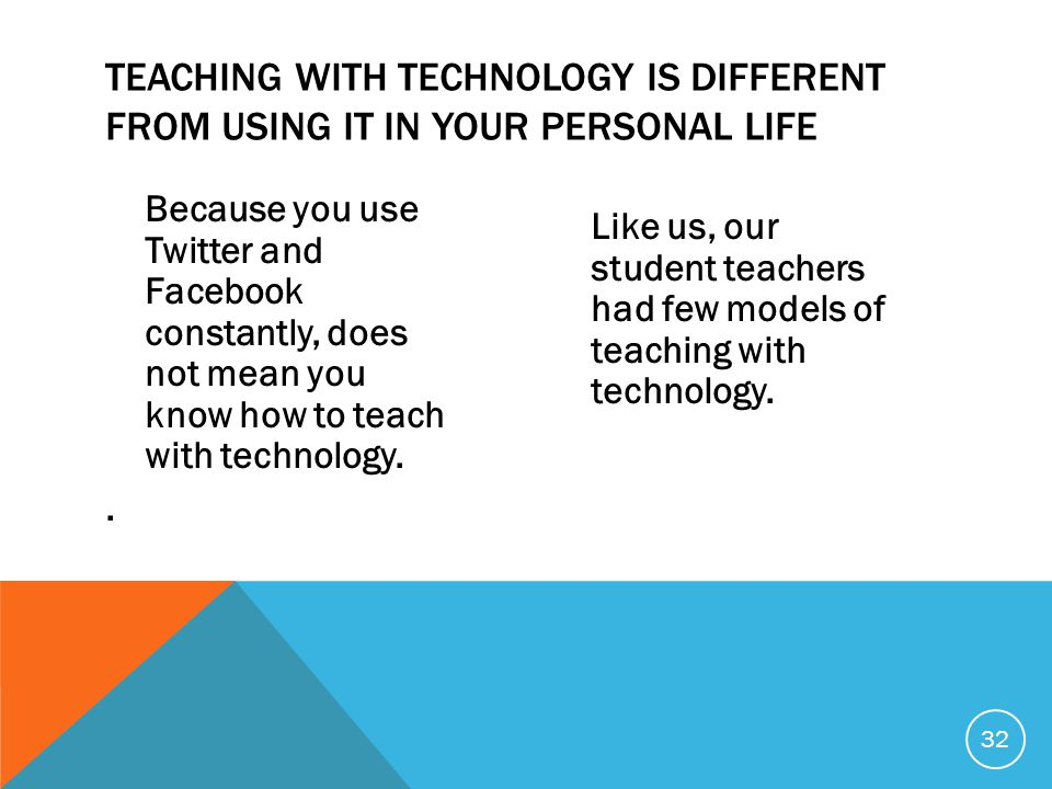 Because you use Twitter and Facebook constantly, does not mean you know how to teach with technology..