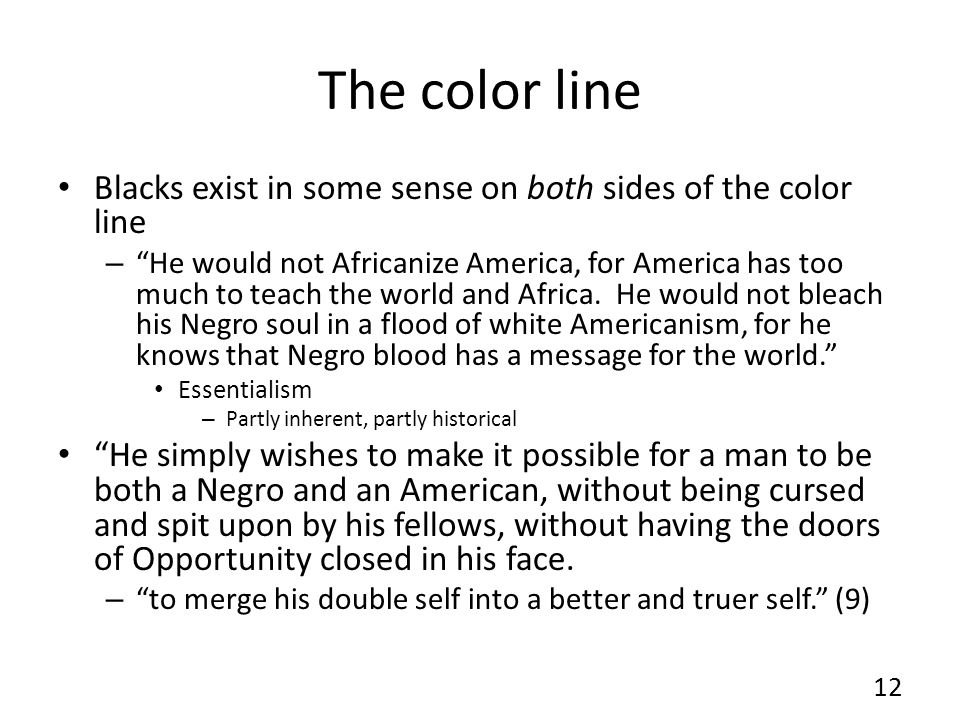"The color line Blacks exist in some sense on both sides of the color line – ""He would not Africanize America, for America has too much to teach the wo"