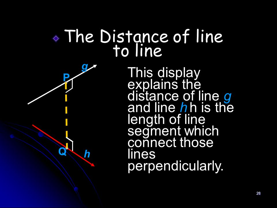 28 The Distance of line to line This display explains the distance of line g and line h h is the length of line segment which connect those lines perpendicularly.