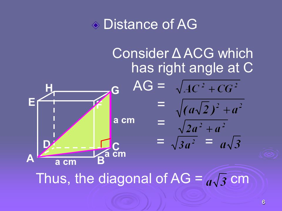6 Distance of AG Consider Δ ACG which has right angle at C AG = = = == Thus, the diagonal of AG = cm A B C D H E F G a cm