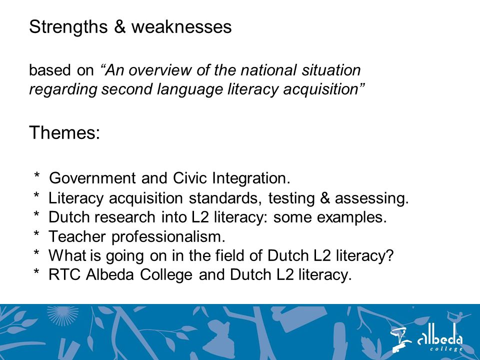 Strengths & weaknesses based on An overview of the national situation regarding second language literacy acquisition Themes: * Government and Civic Integration.