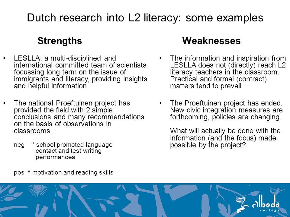 Teacher professionalism Short info Dutch L2 literacy teacher training is often part of a general Dutch L2 teacher course, as L2 literacy is often considered a Dutch L2 specialism.