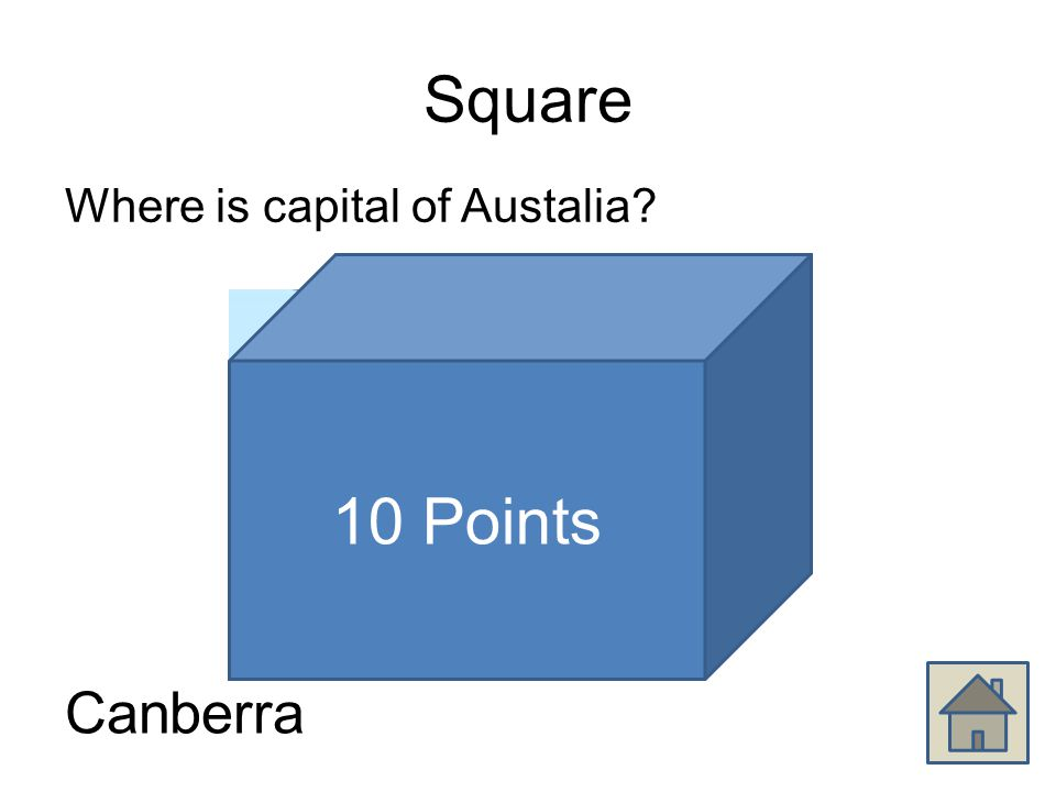 Square Where is capital of Austalia Canberra 10 Points