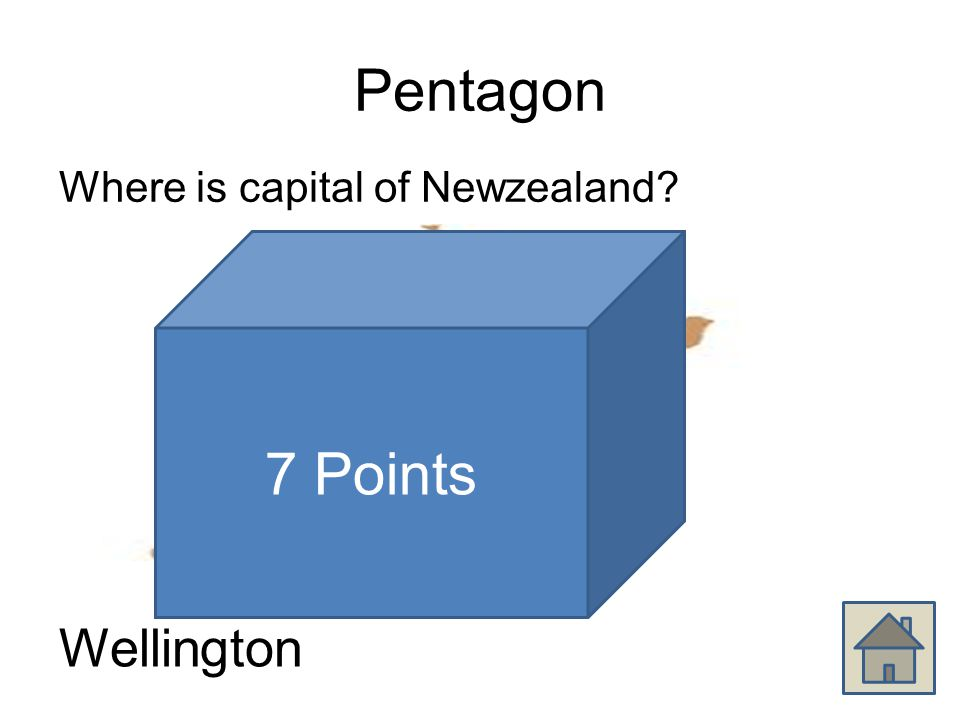 Pentagon Where is capital of Newzealand Wellington 7 Points
