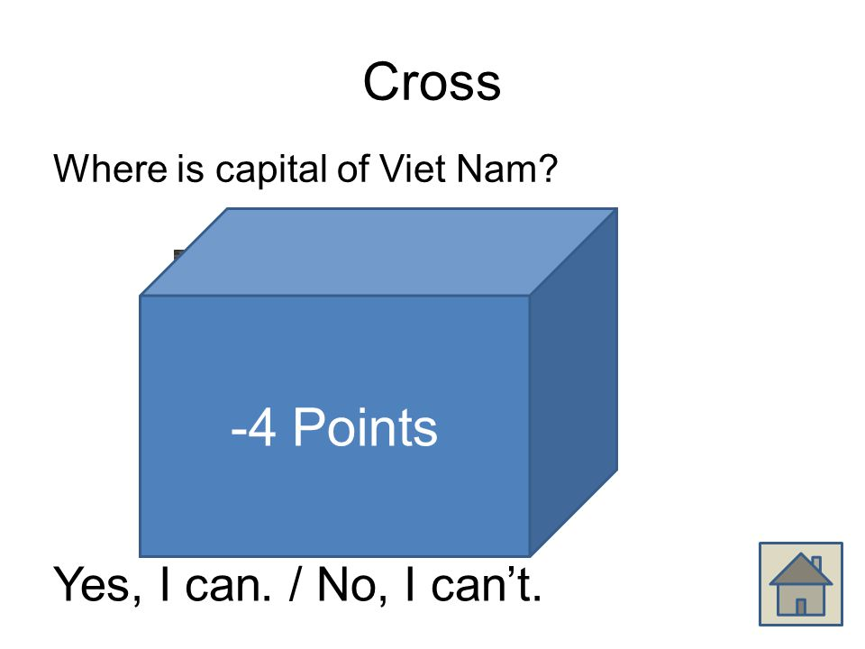 Cross Where is capital of Viet Nam Yes, I can. / No, I can't. -4 Points