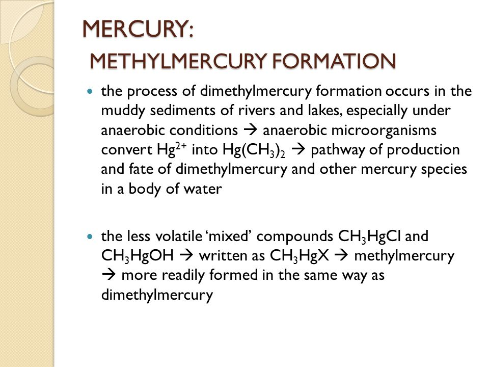 MERCURY: METHYLMERCURY FORMATION the process of dimethylmercury formation occurs in the muddy sediments of rivers and lakes, especially under anaerobi