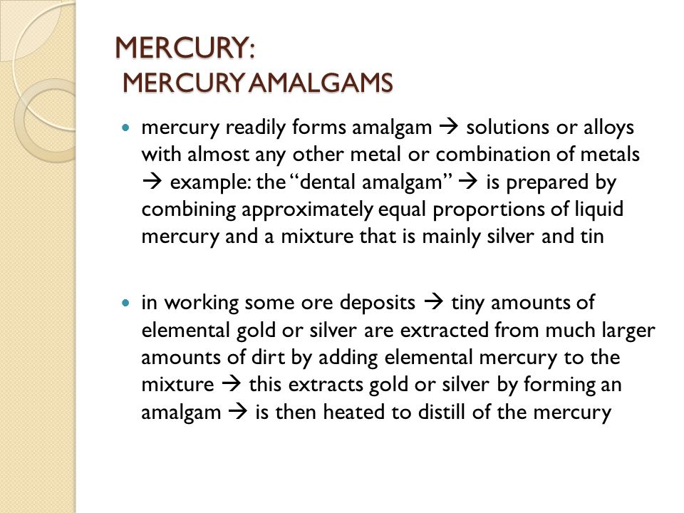 MERCURY: THE CHLORALKALI PROCESS amalgam of sodium and mercury  some industrial chloralkali plants  converts aqueous sodium chloride into the commercial products chlorine and sodium hydroxyde (and hydrogen) by electrolysis:  to form pure solution of NaOH  flowing mercury is used as the negative electrode (cathode) of the electrochemical cell  produce metallic sodium by reduction  removed from NaCl solution without reacting in the aqueous medium : Hg Na + (aq) + e -  Na (in Na/Hg amalgam)
