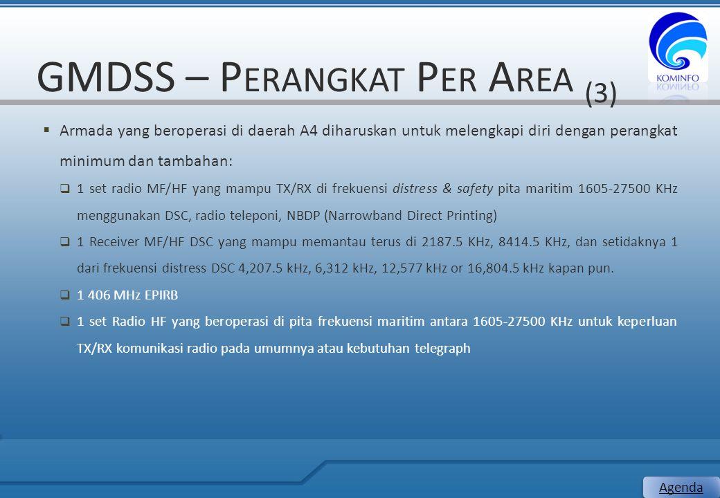GMDSS – P ERANGKAT P ER A REA (3)  Armada yang beroperasi di daerah A4 diharuskan untuk melengkapi diri dengan perangkat minimum dan tambahan:  1 se