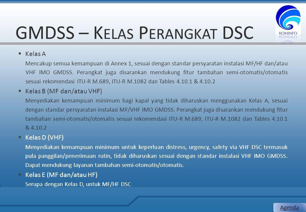 GMDSS – K ELAS P ERANGKAT DSC  Kelas A Mencakup semua kemampuan di Annex 1, sesuai dengan standar persyaratan instalasi MF/HF dan/atau VHF IMO GMDSS.