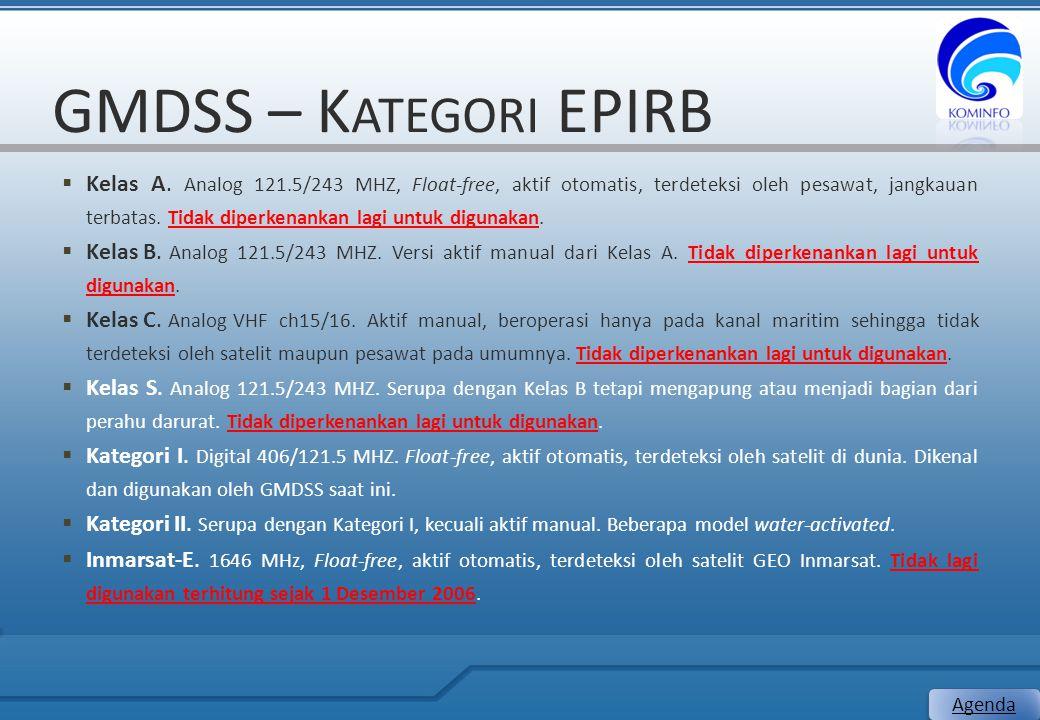 GMDSS – K ATEGORI EPIRB  Kelas A. Analog 121.5/243 MHZ, Float-free, aktif otomatis, terdeteksi oleh pesawat, jangkauan terbatas. Tidak diperkenankan