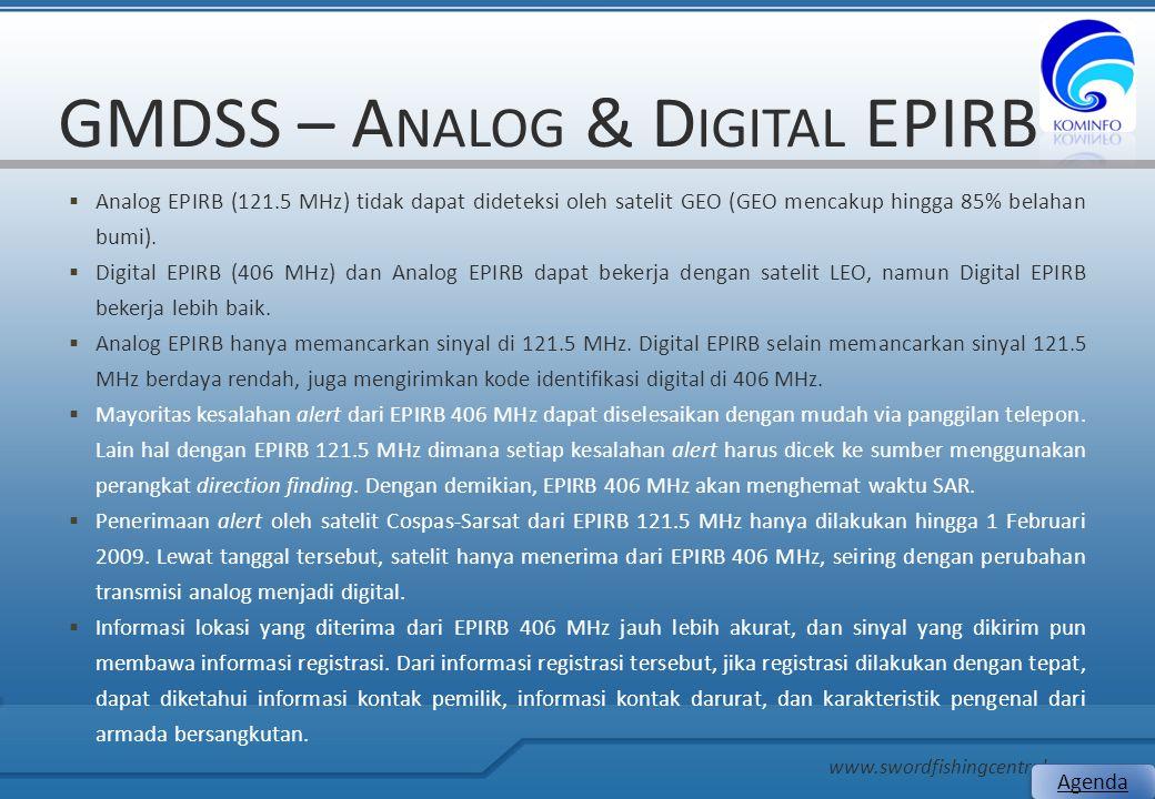 GMDSS – A NALOG & D IGITAL EPIRB  Analog EPIRB (121.5 MHz) tidak dapat dideteksi oleh satelit GEO (GEO mencakup hingga 85% belahan bumi).  Digital E