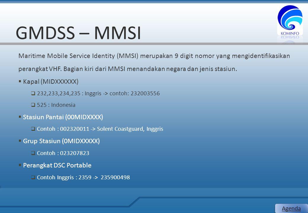 GMDSS – MMSI Maritime Mobile Service Identity (MMSI) merupakan 9 digit nomor yang mengidentifikasikan perangkat VHF. Bagian kiri dari MMSI menandakan