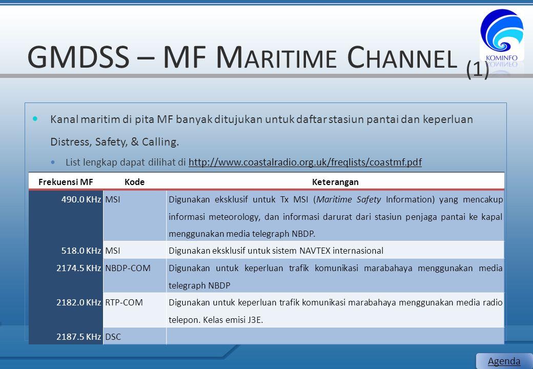 GMDSS – MF M ARITIME C HANNEL (1) 17 Agenda Kanal maritim di pita MF banyak ditujukan untuk daftar stasiun pantai dan keperluan Distress, Safety, & Ca