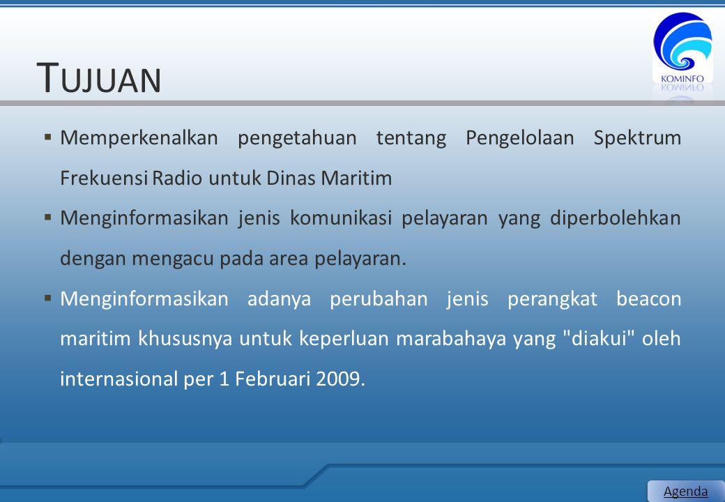 T UJUAN  Memperkenalkan pengetahuan tentang Pengelolaan Spektrum Frekuensi Radio untuk Dinas Maritim  Menginformasikan jenis komunikasi pelayaran ya