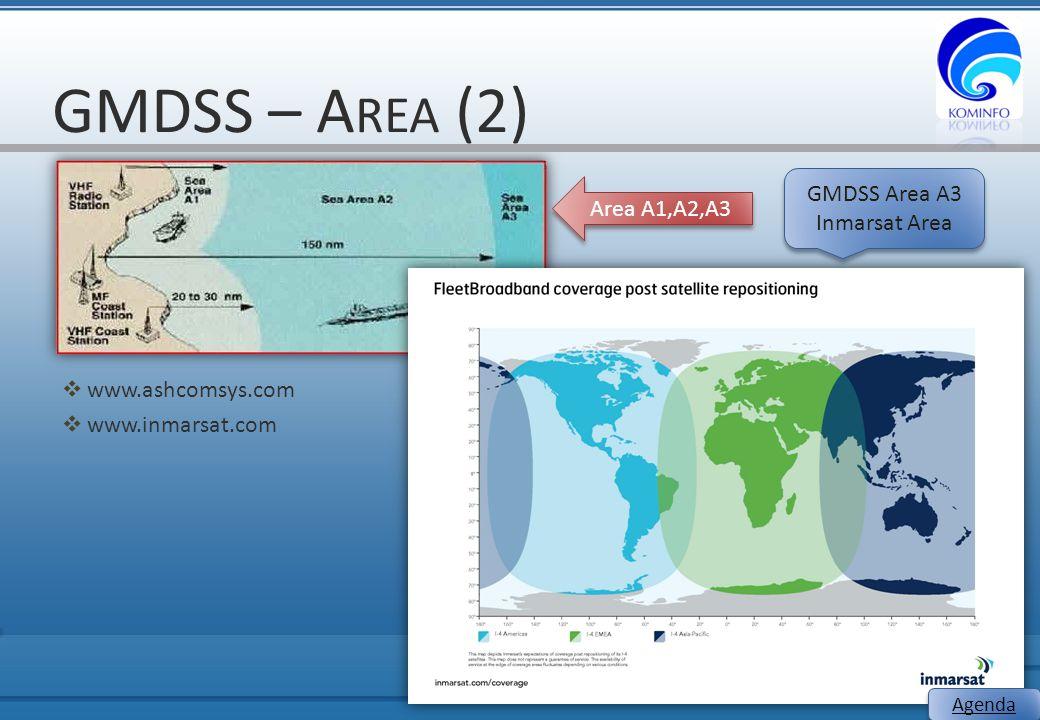 GMDSS – A REA (2)  www.ashcomsys.com  www.inmarsat.com 8 Area A1,A2,A3 GMDSS Area A3 Inmarsat Area GMDSS Area A3 Inmarsat Area Agenda