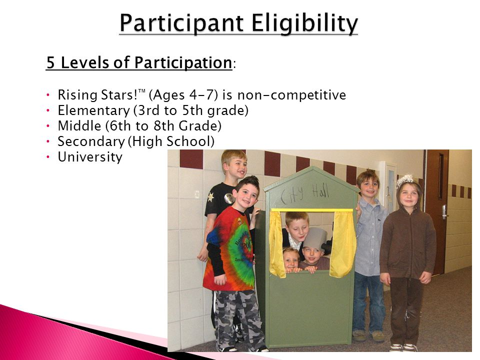 5 Levels of Participation :  Rising Stars! ™ (Ages 4-7) is non-competitive  Elementary (3rd to 5th grade)  Middle (6th to 8th Grade)  Secondary (H