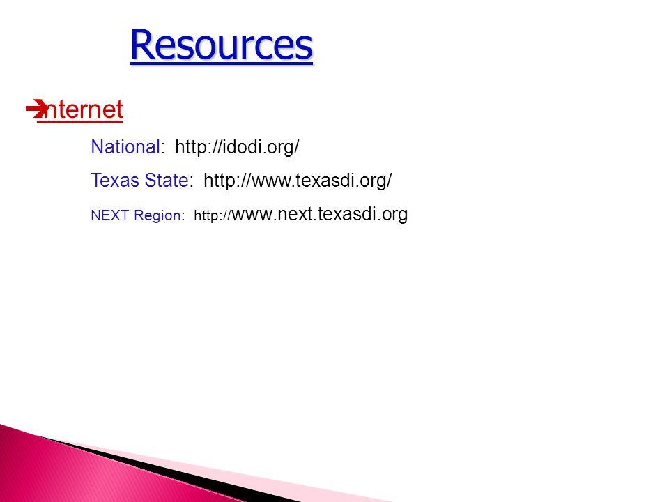 Resources  Internet National: http://idodi.org/ Texas State: http://www.texasdi.org/ NEXT Region: http:// www.next.texasdi.org