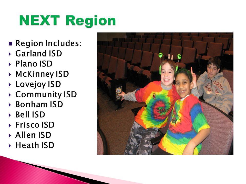 Region Includes:  Garland ISD  Plano ISD  McKinney ISD  Lovejoy ISD  Community ISD  Bonham ISD  Bell ISD  Frisco ISD  Allen ISD  Heath ISD