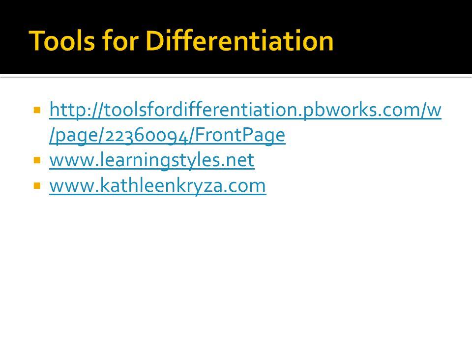  http://toolsfordifferentiation.pbworks.com/w /page/22360094/FrontPage http://toolsfordifferentiation.pbworks.com/w /page/22360094/FrontPage  www.learningstyles.net www.learningstyles.net  www.kathleenkryza.com www.kathleenkryza.com