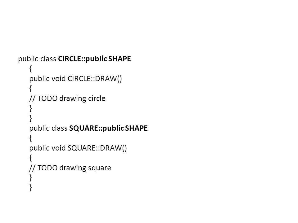 public class CIRCLE::public SHAPE { public void CIRCLE::DRAW() { // TODO drawing circle } } public class SQUARE::public SHAPE { public void SQUARE::DRAW() { // TODO drawing square } }