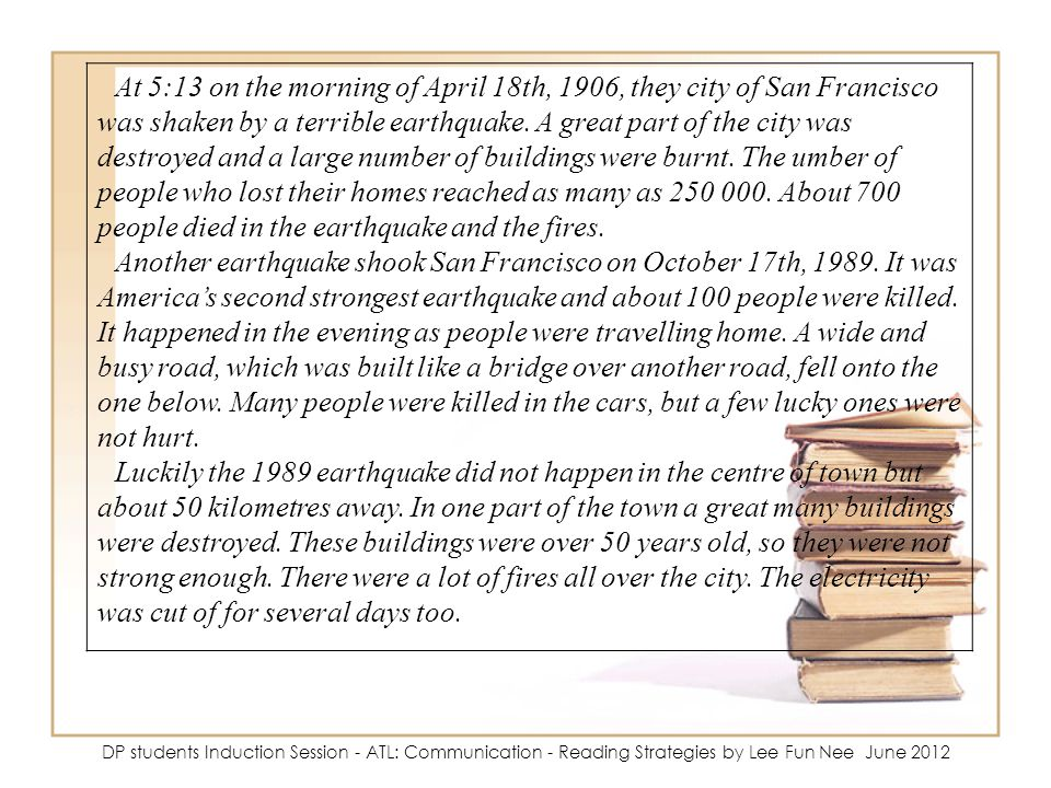 At 5:13 on the morning of April 18th, 1906, they city of San Francisco was shaken by a terrible earthquake. A great part of the city was destroyed and